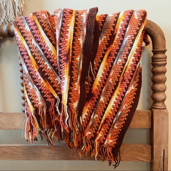 Vintage handmade knitted blanket